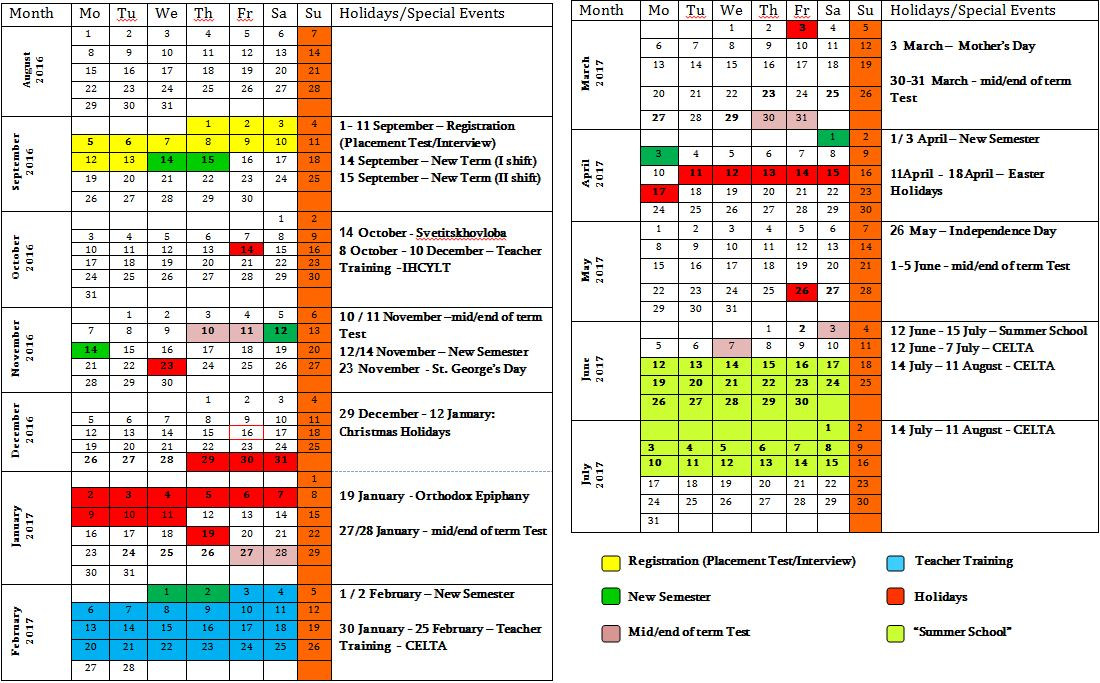 Calendar 2017 English